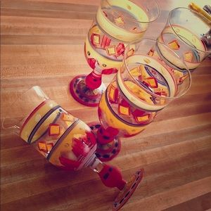 Set of 4 Hand Painted Goblets